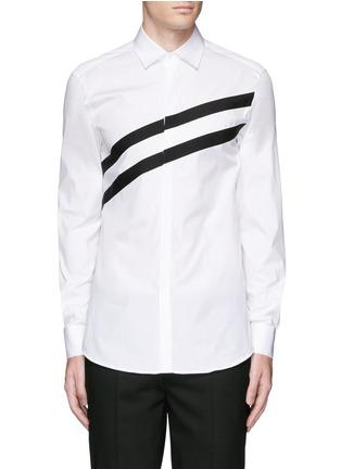 Main View - Click To Enlarge - Neil Barrett - Diagonal stripe poplin tuxedo shirt