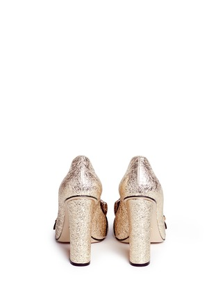 Back View - Click To Enlarge - GUCCI - Kiltie fringe metallic leather loafer pumps