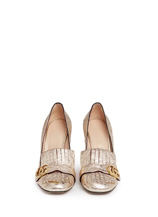 Front View - Click To Enlarge - GUCCI - Kiltie fringe metallic leather loafer pumps