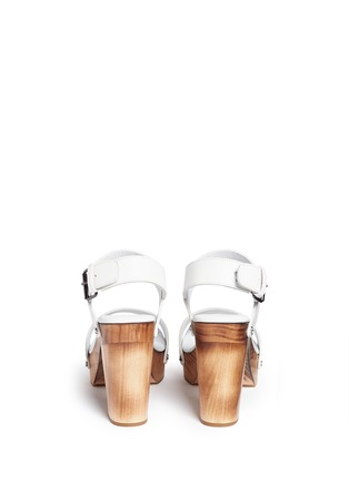 Back View - Click To Enlarge - Vince - 'Solange' wooden clog heel leather sandals