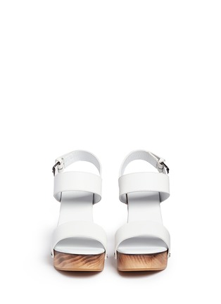 Front View - Click To Enlarge - Vince - 'Solange' wooden clog heel leather sandals