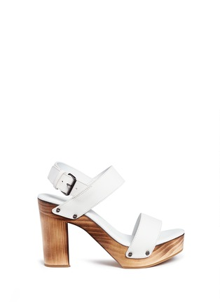 Main View - Click To Enlarge - Vince - 'Solange' wooden clog heel leather sandals