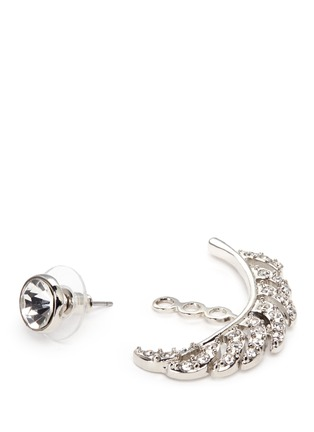 Detail View - Click To Enlarge - KENNETH JAY LANE - Crystal pavé leaf jacket earrings