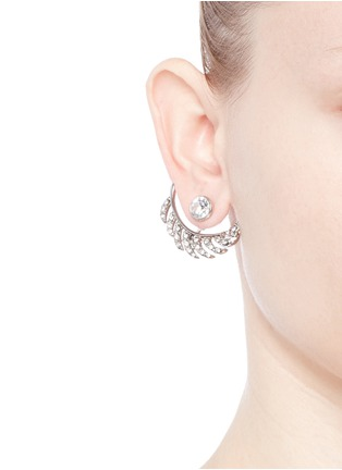 Figure View - Click To Enlarge - KENNETH JAY LANE - Crystal pavé leaf jacket earrings