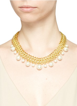 Figure View - Click To Enlarge - Kenneth Jay Lane - Glass pearl drop interlocked chain necklace
