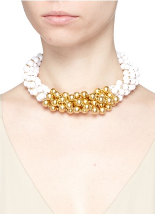 Figure View - Click To Enlarge - Kenneth Jay Lane - Contrast bead choker necklace
