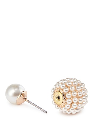Detail View - Click To Enlarge - KENNETH JAY LANE - Mounted glass pearl back stud earrings