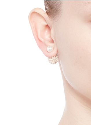 Figure View - Click To Enlarge - KENNETH JAY LANE - Mounted glass pearl back stud earrings