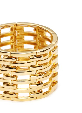 Detail View - Click To Enlarge - Kenneth Jay Lane - Tiered metal bar elastic cuff
