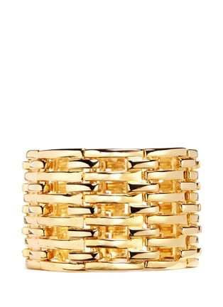 Main View - Click To Enlarge - Kenneth Jay Lane - Tiered metal bar elastic cuff