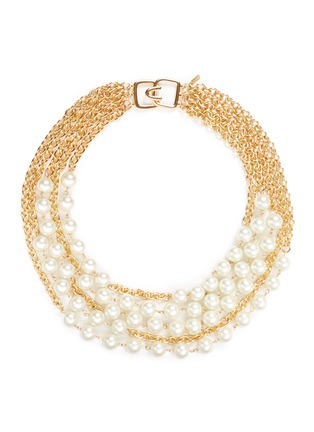 Main View - Click To Enlarge - Kenneth Jay Lane - Multi chain glass pearl necklace