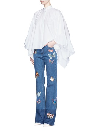 Figure View - Click To Enlarge - Valentino - Butterfly embroidery patch straight leg jeans