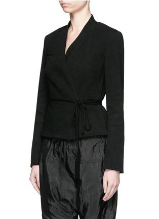 Front View - Click To Enlarge - Isabel Marant - 'Falco' sash tie waffle knit wrap jacket