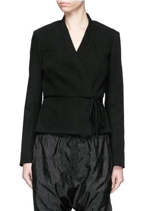 Main View - Click To Enlarge - Isabel Marant - 'Falco' sash tie waffle knit wrap jacket