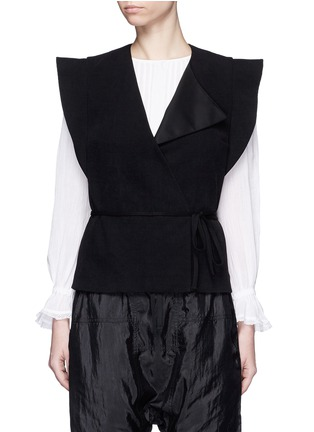 Main View - Click To Enlarge - Isabel Marant - 'Fauna' asymmetric drape waffle knit wrap top