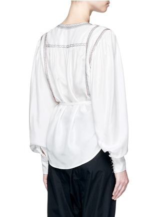Back View - Click To Enlarge - Isabel Marant - 'Lisa' embroidered wrap front silk top