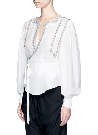Front View - Click To Enlarge - Isabel Marant - 'Lisa' embroidered wrap front silk top