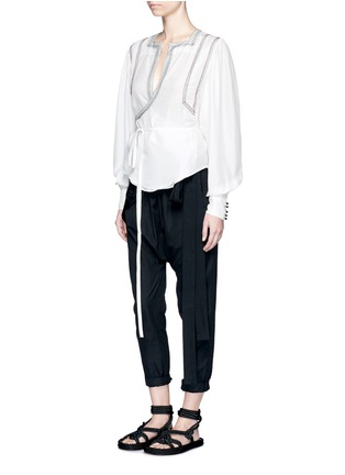 Figure View - Click To Enlarge - Isabel Marant - 'Lisa' embroidered wrap front silk top