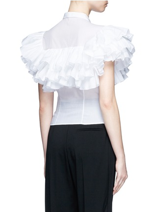 Back View - Click To Enlarge - Alaïa - Ruffle cotton voile shirt