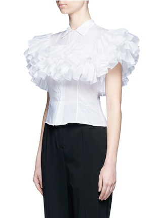 Front View - Click To Enlarge - Alaïa - Ruffle cotton voile shirt