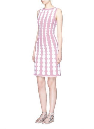 Figure View - Click To Enlarge - Alaïa - 'Moorea' graduating dot stripe jacquard knit dress