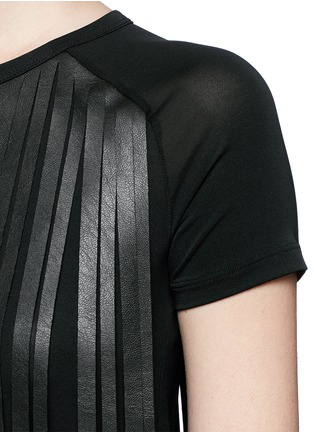 Detail View - Click To Enlarge - Neil Barrett - Fringe eco leather stretch jersey T-shirt