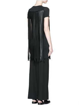 Back View - Click To Enlarge - Neil Barrett - Fringe eco leather stretch jersey T-shirt