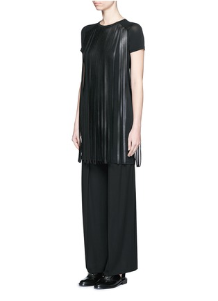 Front View - Click To Enlarge - Neil Barrett - Fringe eco leather stretch jersey T-shirt