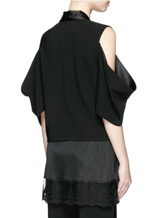 Back View - Click To Enlarge - Givenchy Beauty - Satin shawl lapel cold shoulder jacket