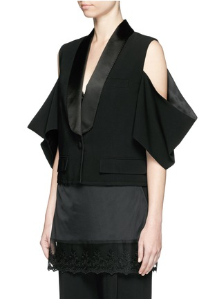 Front View - Click To Enlarge - Givenchy Beauty - Satin shawl lapel cold shoulder jacket