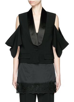 Main View - Click To Enlarge - Givenchy Beauty - Satin shawl lapel cold shoulder jacket