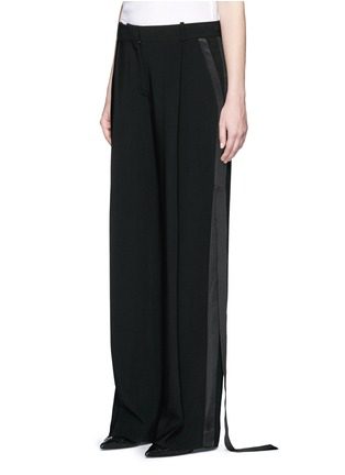 Front View - Click To Enlarge - Givenchy - Satin tuxedo stripe wide leg pants