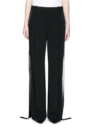 Main View - Click To Enlarge - Givenchy - Satin tuxedo stripe wide leg pants