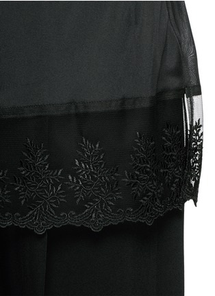 Detail View - Click To Enlarge - Givenchy - Lace trim apron cady wide leg pants