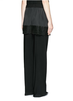 Back View - Click To Enlarge - Givenchy - Lace trim apron cady wide leg pants
