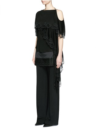 Figure View - Click To Enlarge - Givenchy Beauty - Open back lace trim asymmetric hem top