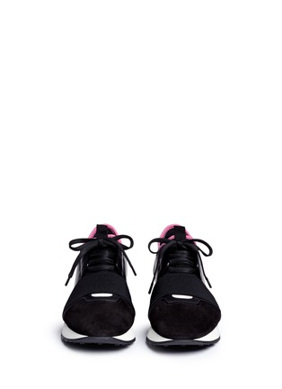 Front View - Click To Enlarge - Balenciaga - 'Race Runners' marble print leather combo neoprene sneakers