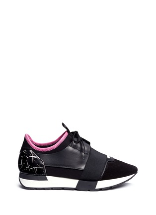 Main View - Click To Enlarge - Balenciaga - 'Race Runners' marble print leather combo neoprene sneakers