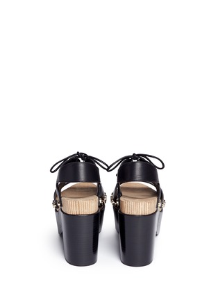 Back View - Click To Enlarge - Balenciaga - Cutout rivet lace-up leather clog sandals