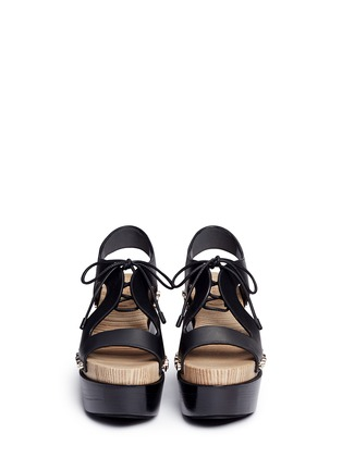 Front View - Click To Enlarge - Balenciaga - Cutout rivet lace-up leather clog sandals