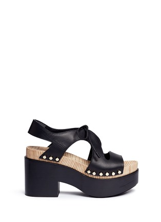 Main View - Click To Enlarge - Balenciaga - Cutout rivet lace-up leather clog sandals