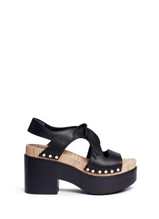 Main View - Click To Enlarge - BALENCIAGA - Cutout rivet lace-up leather clog sandals