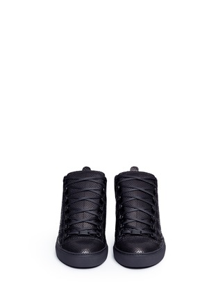 Front View - Click To Enlarge - Balenciaga - Python effect leather high top sneakers