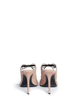 Back View - Click To Enlarge - BALENCIAGA - Metal bow suede mules