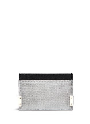 Figure View - Click To Enlarge - Balenciaga - 'Phileas' grid embossed leather cardholder