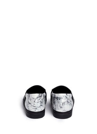 Back View - Click To Enlarge - Balenciaga - Elastic strap marble print leather skate slip-ons