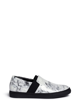 Main View - Click To Enlarge - Balenciaga - Elastic strap marble print leather skate slip-ons