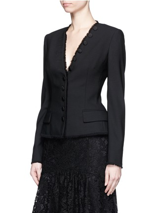 Front View - Click To Enlarge - Dolce & Gabbana - Frayed trim button wool suiting tailored jacket