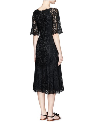 Back View - Click To Enlarge - Dolce & Gabbana - Ruffle hem scoop neck lace midi dress