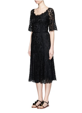 Front View - Click To Enlarge - Dolce & Gabbana - Ruffle hem scoop neck lace midi dress
